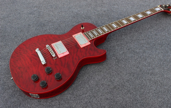 high quality standard custom electric guitar with quilt flame,red burst finished, red color binding on body and neck guitarra