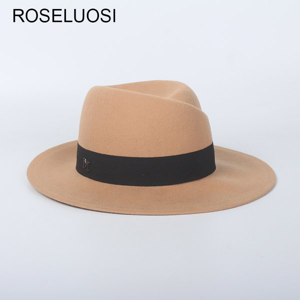 f33c767b ROSLEUOSI Autumn Winter Wool Fedora Hats For Women Men Solid Color Felt Hat  Trilby Caps Ladies