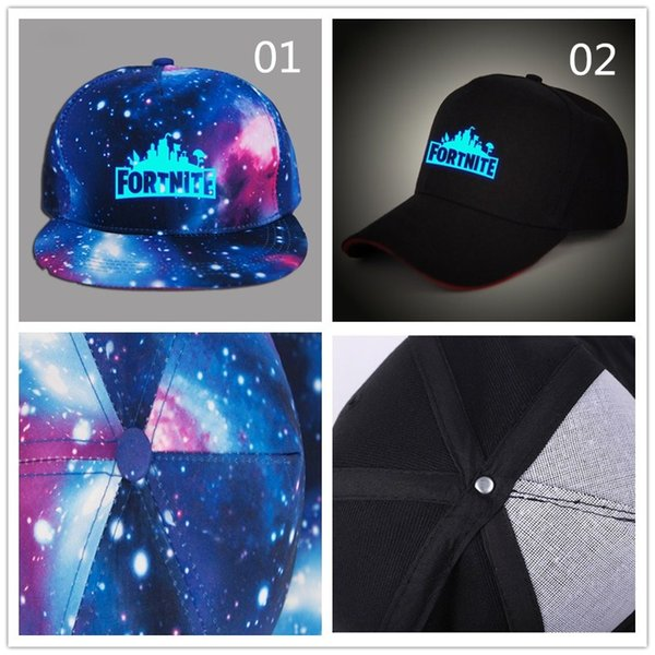 20pcs DHL Glow in dark Children Boy girl Adult Fortnite baseball Caps with Blue Luminous Summer sun Hat Night Lights hats For Acrylic