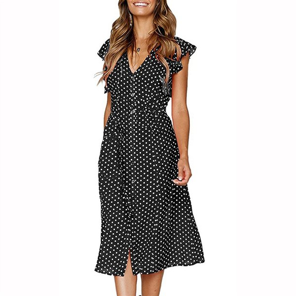 Mid-calf Women Dot Dress Sweet Casual Butterfly Sleeve Button Female Vintage Dress 2018 New Fashion V Neck Sexy Robe Clothing