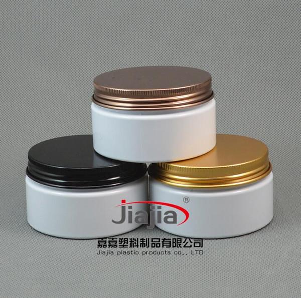 100g White Plastic Jar Milk Color Empty PET Cosmetic Packaging,100ml white PET jar with Cap Black/Bronze/Gold Aluminum Screw
