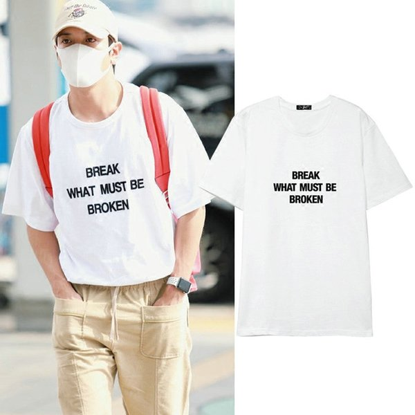 Break t shirt Cool words broken music short sleeve gown Street leisure tees Unisex clothing Pure color cotton Tshirt