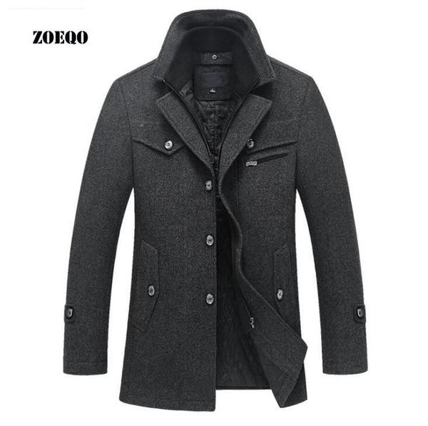 ZOEQO New Winter Wollmantel Slim Fit Jacken Mens Casual Warme Oberbekleidung Jacke und Mantel Man Pea Coat Plus Größe M-4XL Y1892505
