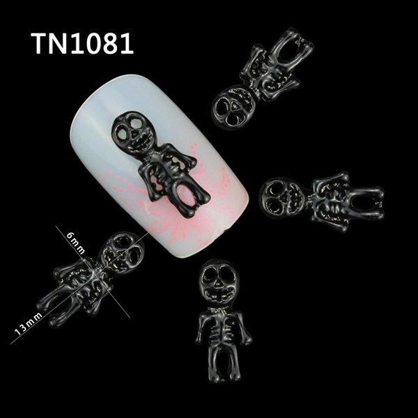 10 Stücke Schwarz Weiß Maniküre Halloween Schädel Legierung Skeleton Dekorationen Für Nägel Charms 3D Nail art Allhallows Nagel TN1081 TN1082
