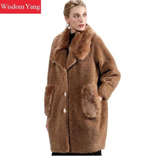 Zarif Kadın Bej Kahverengi Yeşil Koyun Yün Kaşmir Palto Kürk Vücut Kış Sıcak Uzun Kadın Yün Bayanlar Palto Coat Kabanlar