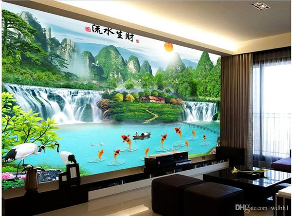3d wallpaper custom photo Non-woven mural Mountain waterfalls pond carp decoration painting picture 3d wall muals wall paper for walls 3 d