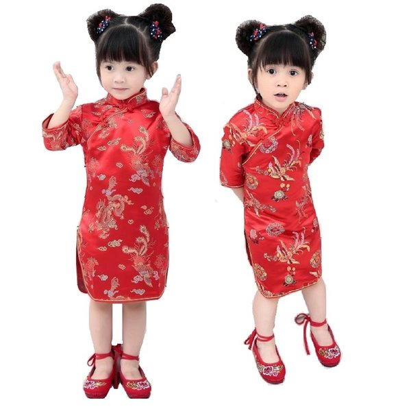 Dragon Red Baby Girl Qipao Dresses 2018 Chinese Spring Festival Children Clothes Girl's Cheongsam Outfits Floral Chi-Pao Dress Skirts