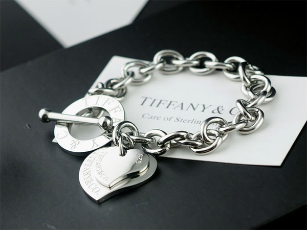 Heart Tag Toggle Bracelet Sterling silver 925 Bracelets Rings Earrings Necklaces Pendants Wedding Bands anchor charm and bracelet