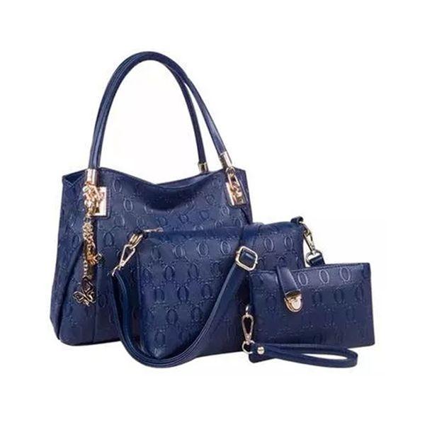 Blue fashion PU leather composite bag shoulder messenger bags 3 pcs set hand bags