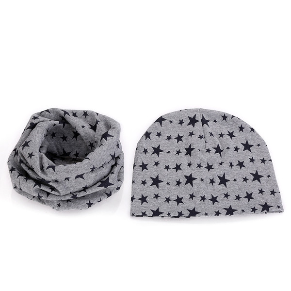 2018 star smile solid color cartoon cotton beanie+collar sets for baby under 3 year one layer thin boys girls kids cap scarf hat