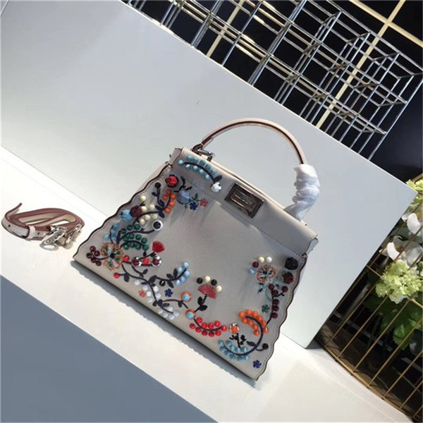 New 2018 pee kaboo Large top qualith Italian classic real leather tote genuine leather Crossbody Flower embroidery handbags shoulder bags