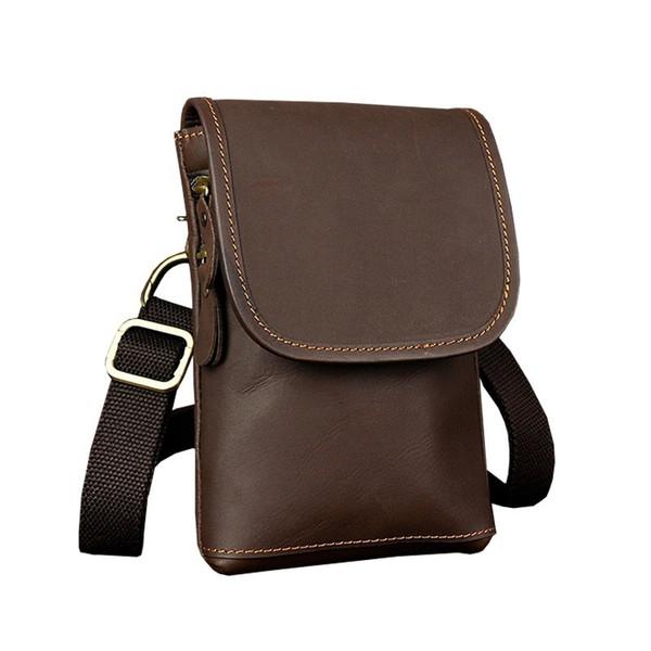 New Crossbody Bag Crazy Horse Leather Retro Trend Men Waist Packs Mobile Phone Money Case For Male Travel Belly Fanny Pack Bag