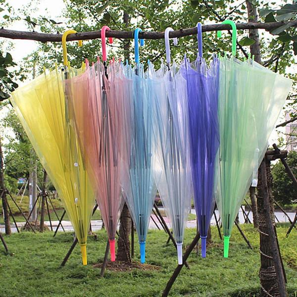 Ombrelli trasparenti trasparenti Copertura automatica della pioggia in gelatina PVC Ombrellone Ombrello color caramella a manico lungo per 8 ossa HH7-1277