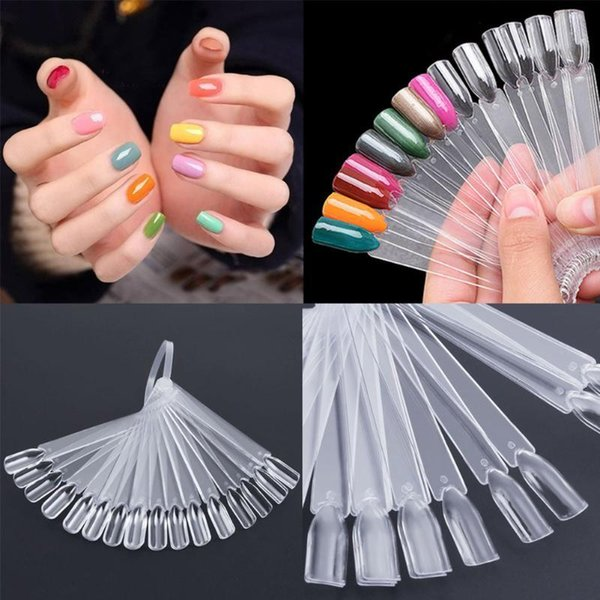 32pcs Nail Polish UV Gel Color Palette Card Display Fan Shaped Natural False Nail Tip Sticks Colored Practice Training Pops Y18101003
