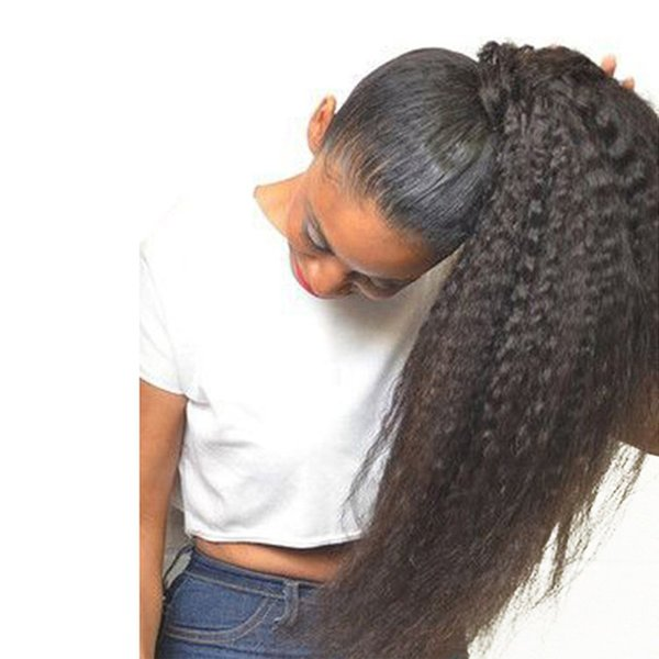 Kinky Straight Glueless Full Lace Wig Human Hair High Ponytail Remy Brazilian Kinky Straight Lace Front Wigs For Black Women