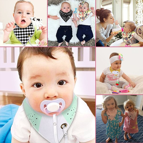 20pcs New Fashion Can Add Pacifier Unique Cartoon Triangle Cotton Towel Baby Bib Slobber Double Children's Accessories YE036