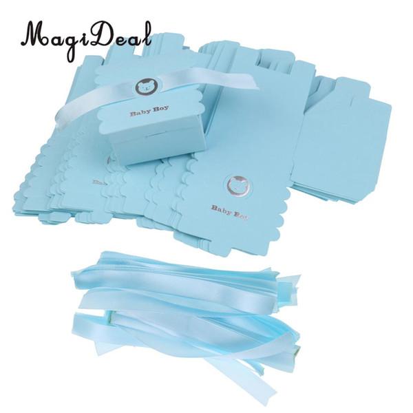 Magideal 50 pcs Belle Papier Ours Bébé Garçon Doux Bonbons Chocolat Boîtes Avec Ruban De Satin Pour Bébé Baptême Bébé Douche Décor