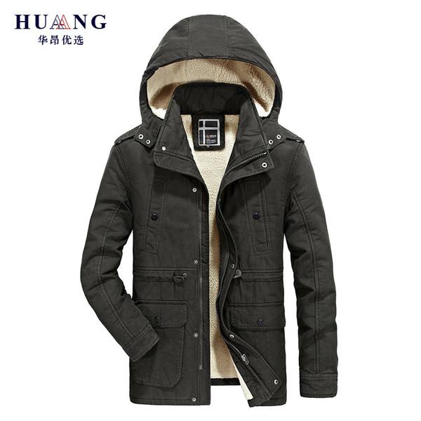 2018 Winter Casual Jacket Men Warm Fleece Thick Coat Hat Detachable Cotton Parkas Mens Military Style Hooded Outwear Parka PLQ8705