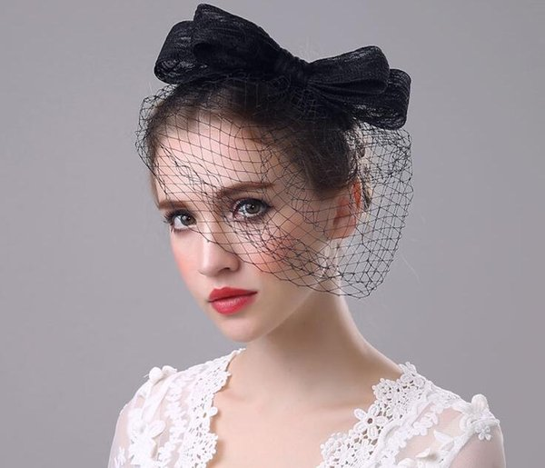 New Black Bridal Veils Birdcage Vintage Lace Bow Net Tulle Wedding Party Accessories Headpiece Bridal Hats Cheap Free Shipping