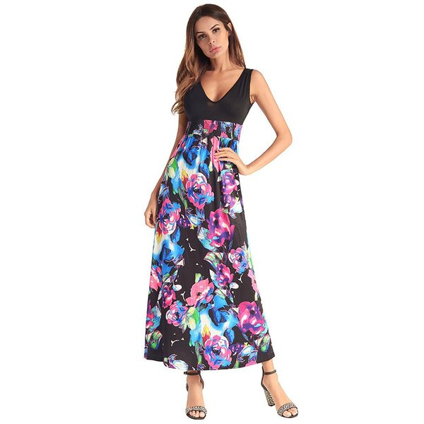 2018 Hot Sale Fashion Tank Top Maxi Dress Long Style Sleeve Dress V Neck Floral Print Dresses for Women
