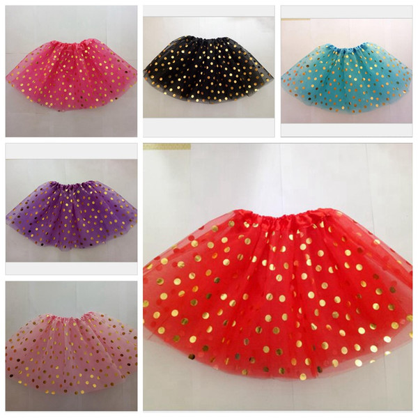 Baby Girls TuTu Dress Gold Polka Dot Skirt Toddler Bubble Skirts Kids A-Line Dress Children Dancing Skirts Performing Dress LM38
