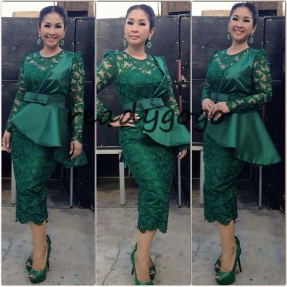 Dark Hunter Green Tea-length Prom Party Cocktail Dresses With Long Sleeve 2018 Ankara Aso Ebi Nigeria Lace Stain Peplum Short Evening Gown