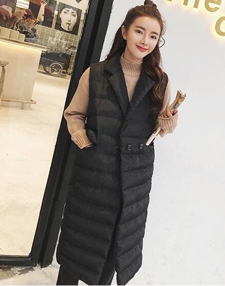 Korean Women Plus Size Thin Light White Duck Down Long Vest Warm Button Jacket Sleeveless Slim Waistcoat Coat Windbreaker Jumper