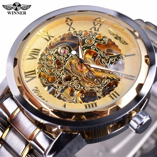 Winner Retro Men Watches Mechanical Skeleton Watch Transparent Top Brand Luxury Gold Male Clock Man Classic Casual Fashion Wristwatches