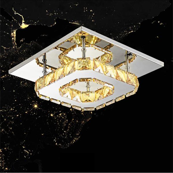 Lámpara de cristal LED 12W llevó la lámpara de techo Luz de brillo de cristal para el comedor en casa Restaurante Acero inoxidable Techo transparente