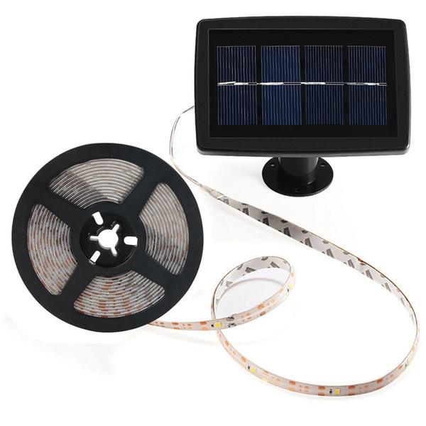 5 m / 16.4ft Su Geçirmez Güneş Enerjili 2835 SMD LED Şerit Halat Tüp Sıcak Beyaz Açık Bahçe Işık Şeridi Bahçe Tatil parti Dekoru Işık