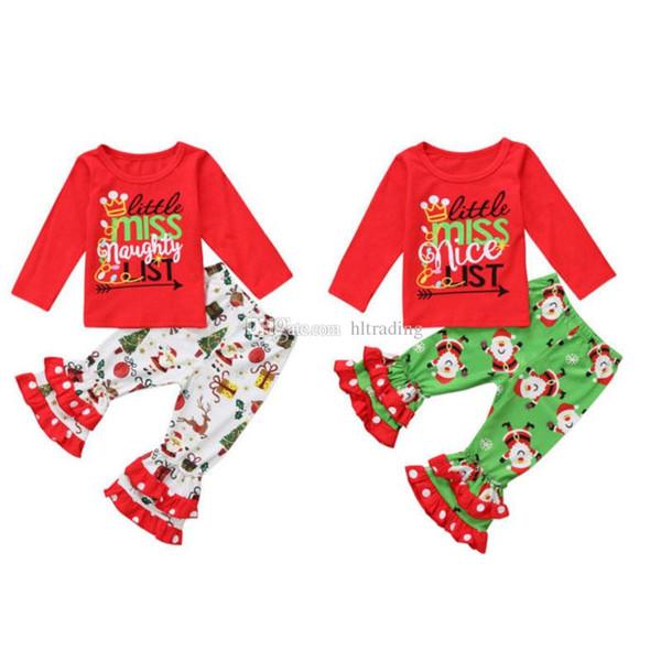 Christmas Baby outfits children girls letter print top+Santa Claus Ruffle Flare pants 2pcs/set 2018 Autumn fashion kids Clothing Sets C5299