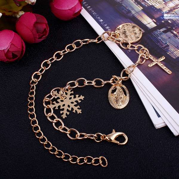 Cross Maria Pendant Bracelet the Virgin Mary Jesus snowflakes chain bracelet Western religious series jewelry fashion golden accessories