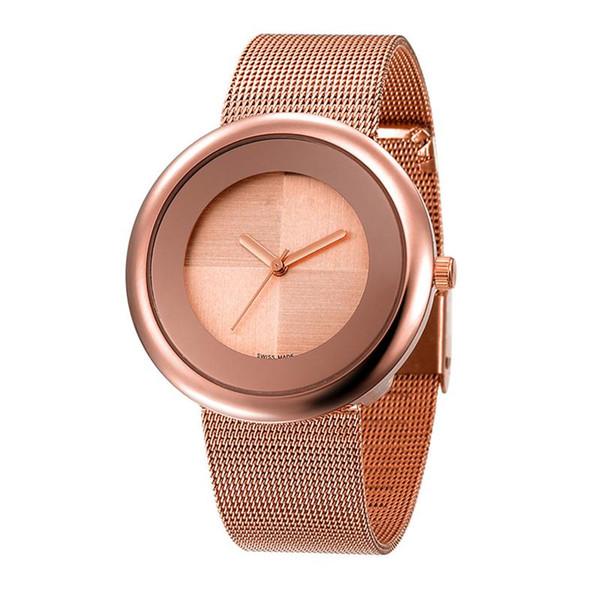 AW 2018 Novo Super Relógios de Presente de Luxo Mulheres de Aço Inoxidável de Malha de Pulso Ultra Fino Dial Relógio Mulheres de Quartzo-Relógio