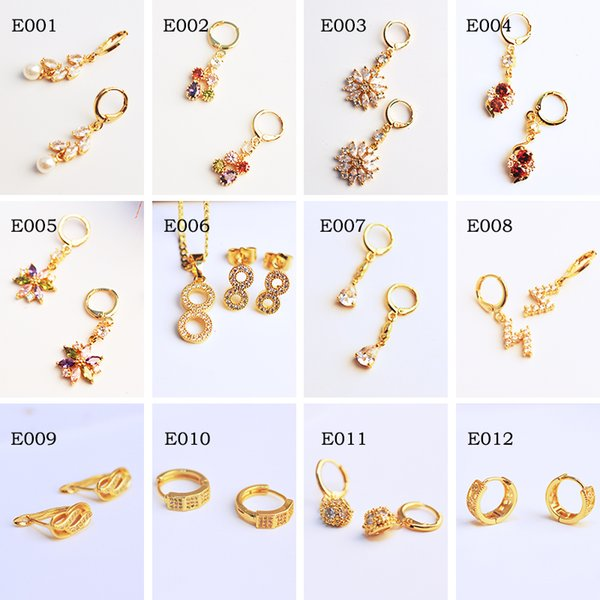 2018 new ladies earrings with diamond earrings bag gold earrings 24k gold-plated package Chinese style e012 can be wholesale