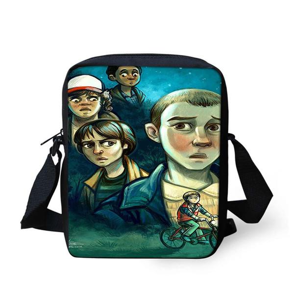 Noisydesigns Stranger Things Characters Printing Bags Mini Messenger Bag for Kindergarten Baby School Messenger Bag