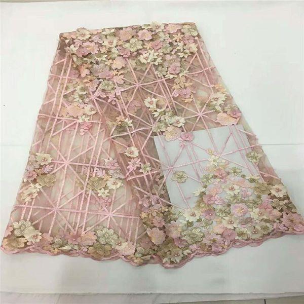 tessuti di pizzo rosa baby per matrimonio 2018 tessuto indiano fatto a mano 3d fiore in rilievo francese tessuto di lusso in pizzo abito 5yar