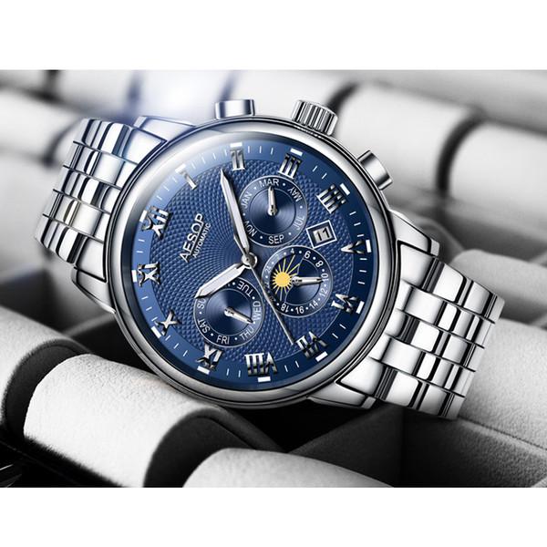 215a874ef95 Marca de luxo AESOP Homens Relógios Homem Mecânico Automático Relógio de  pulso lua data da semana