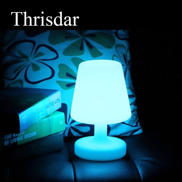 Thrisdar 16 Color RGB LED Bedside Table Light USB Rechargeable LED Illuminated KTV Hotel Restuarant Bar Table Lamp