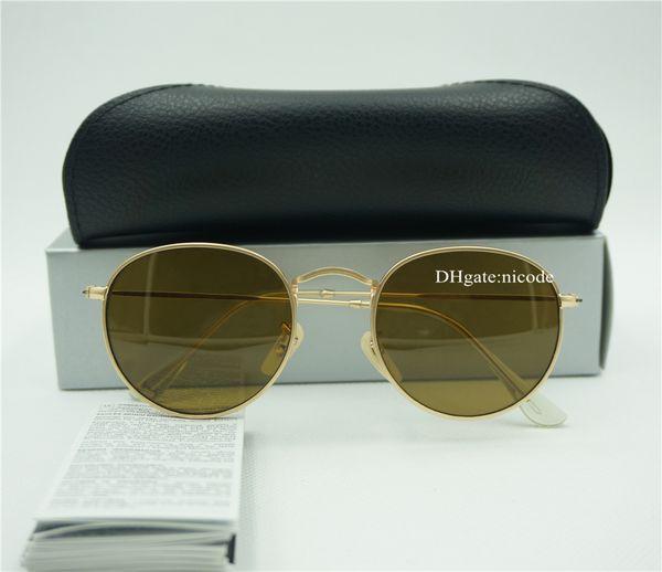 Gafas de sol redondas de alta calidad del diseñador de la marca para mujer para mujer gafas de sol UV400 Gafas oval 51MM caja de la lente de cristal del vintage unisex