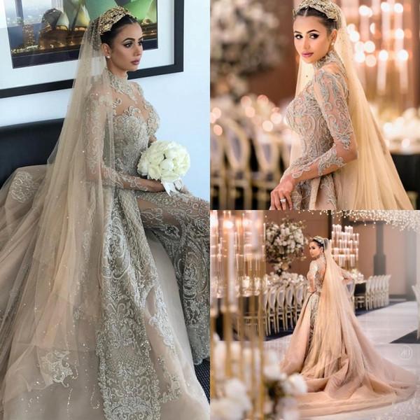 Acheter Dubai Arabe Robes De Mariee De Luxe Avec Jupe Amovible Col Haut Perles Manches Longues Robe De Mariee Sirene Illusion Plus La Taille Robes De