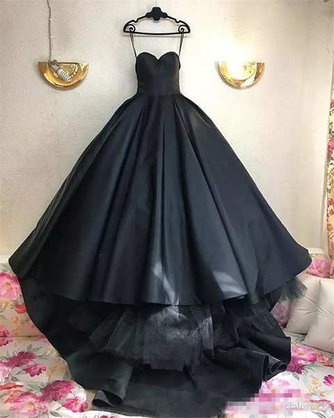 Gothic Black Ball Gown Wedding Dresses 2019 Corset Plus Size Simple Satin Arabic African Cheap African Arabic Vestido De Novia Bridal Gowns