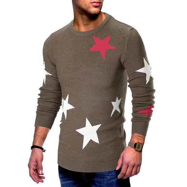 Men's Winter Autumn Warm Pullover Sweater Hot Sale Star Printed Jumper Crew Neck Knit Sweater Tops Long Sleeve Soft Man Sweaters