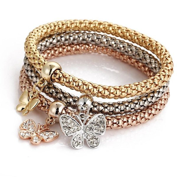 Crown Bracelet Key Heart Love Skull Silver Rose Gold Plated Corn Chain Elastic Bracelets for Women Girls Jewelry Party 3pcs/set Wholesale