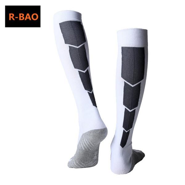 R-BAO Long Soccer Socks Men Cotton Non-slip Sport Football Ankle Leg Pink Socks Shin Guard Compression Protector For Men 7 Colors