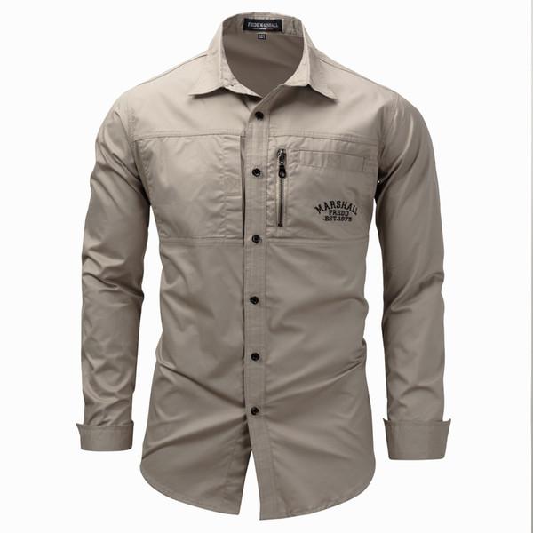 Men Shirt military Mens Long Sleeve Slim fit camisa masculina Khaki Army green Shirt High Quality Shirt men