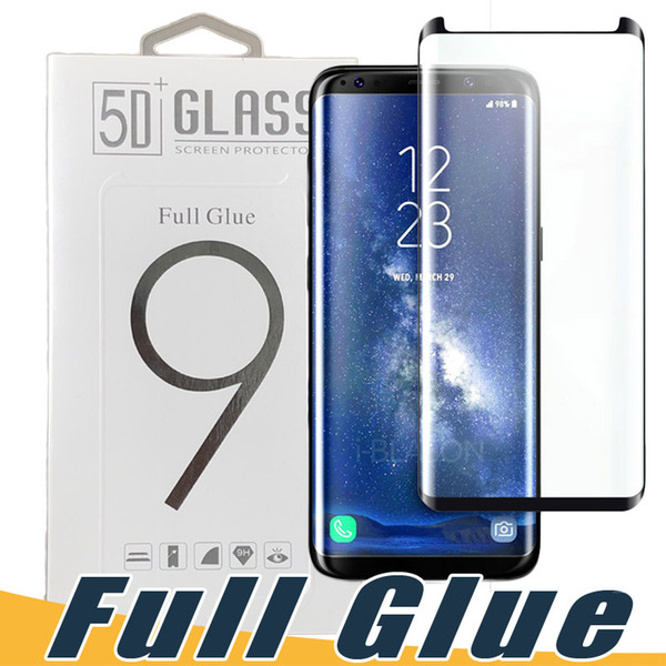 Full Glue Adhesive AB Glue Tempered Glass Case Friendly 3D Curved Screen Protector For Samsung S8 S9 Plus Note 9 8 S7 edge Black Clear Color