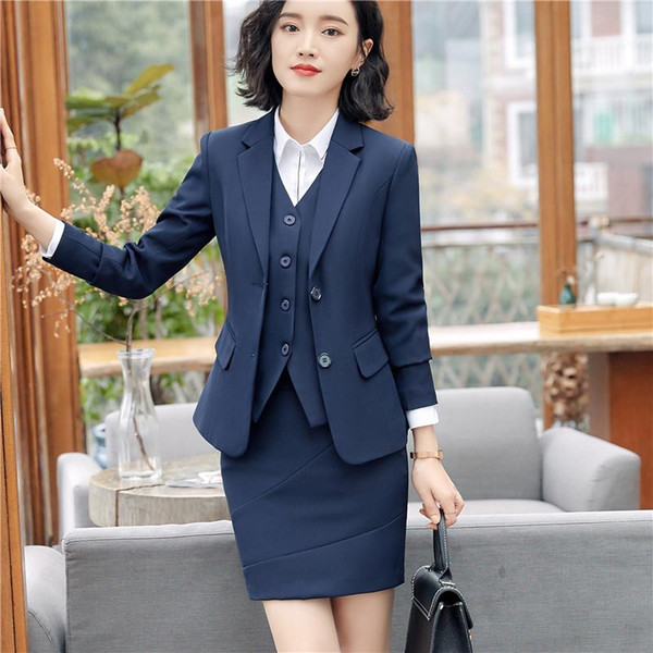 New Styles Slim Skirt/ Pant Suits With 3 Piece Jackets + Skirt/pant + Vest Female Blazers & Waistcoat Sets For Women Business Work Wear DHL