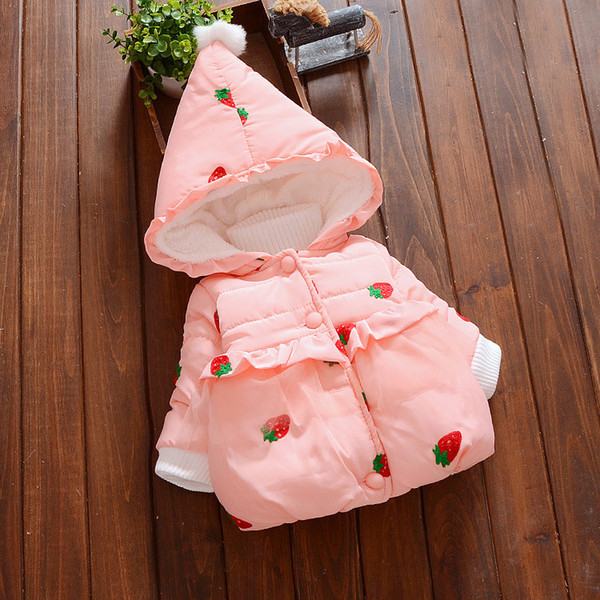Baby Girls Autumn Jacket New Winter Coat For Girls Cute Strawberry Kids Jacket for Girls Long Sleeve Outerwear Kids Clothes