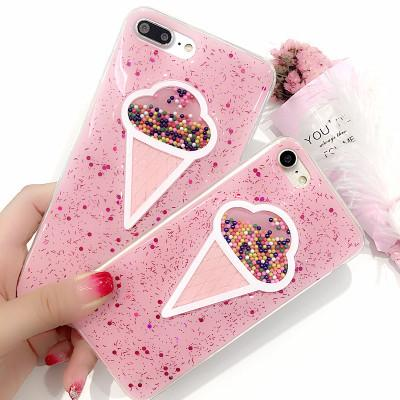 For Iphone X Cellphone Cases Glitter Flowing Ice cream Soft TPU Back Cover For iphone 7 8 6 6s plus Mobile Phone Shell Case Hot Free DHL A79