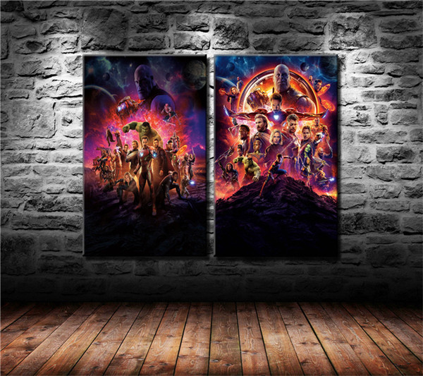 Avengers Infinity War Poster,2 Pieces Canvas Prints Wall Art Oil Painting Home Decor (Unframed/Framed)